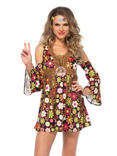 Check out Women's Sexy Starflower Hippie Dress Costume - 60's Adult Costumes from Wholesale Halloween Costumes