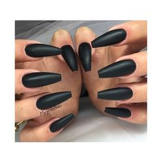 Black Matte Ballerina Nails Nail Art Gallery ❤ liked on Polyvore featuring beauty