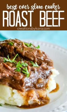 Best Slow Cooker Roast Beef recipe - 10 minutes of prep time, and unbeatable flavor. This roast beef makes its own gravy. The meat is so tender it just falls apart! #crockpotroastbeef #slowcookerroastbeef #crockpotroastwithgravy #crockpotbeef #creationsbykara #slowcookerrecipe #bestcrockpotroast Best Crockpot Roast, Slow Cooker Roast Beef, Slow Cooker Meatloaf, Roast Beef Recipes, Crockpot Recipes, Really Good Roasts, Chef Recipes, Side Recipes, Drink Recipes