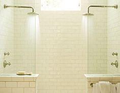 tile to the ceiling. no shower door