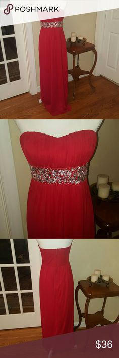 Red jeweled long gown size 11/L Gorgeous city triangles red jeweled long gown. size 11, fits a Large. excellent condition, worn only one night!! City Triangles Dresses Maxi