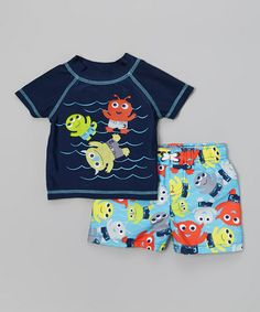 Navy Monster Rashguard & Blue Swim Trunks - Infant & Toddler