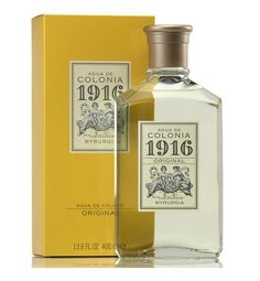 1916 Myrurgia Eau de Cologne 100 ml. A Citrus fragrance for all the family. The fragance features Rosemary, Orange blossom, Bergamot and Lemon.Its rugged and citrus aroma, addressed to women but, after his success with the male audience, created a concept of family cologne. Work of Russian perfumer Meisonier for the Myrurgia house, creator of legendary colognes.In 1921 he won the Gold Medal at the International Exhibition of Decorative Arts. #spanish #unisex #fragances