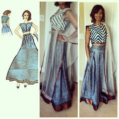 3 piece high-waisted lengha with pockets and boat neck crop top with front zipper. Cerulean blue and bronze details and some geometric appliqué work. #anarkali