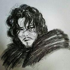 Jon Snow ,matite e grafite su cartoncino.