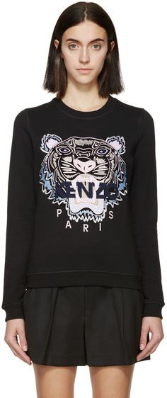 Long sleeve brushed cotton sweatshirt in black. Embroidered tiger logo in tones of pink, grey, and blue at front. Ribbed crewneck collar, cuffs, and hem. Tonal stitching.   Available exclusively at SSENSE.