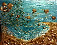 """Cast out your Nets"" Based on John 4 Original Acrylic, Seashells / Mixed Media Art By: Lorna Deininger Grand Island, FL. ""Cast out your Nets"" Based on John 4 Original Acrylic, Seashells / Mixed Media Art By: Lorna Deininger Grand Island, FL. Seashell Art, Seashell Crafts, Mixed Media Canvas, Mixed Media Art, Deco Marine, Sea Art, Grand Island, Resin Art, Medium Art"