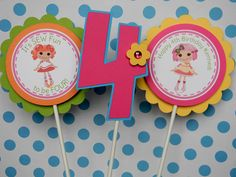 6 Lalaloopsy Birthday Party - Centerpiece Stakes - Table Decorations. $12.00, via Etsy.