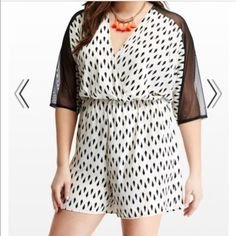 Black and ivory romper Dolman romper with mesh sleeves. Brand new, never worn. Feel free to ask any questions and submit offers! Dresses