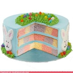 """Use yellow jelly beans in frosting """"grass"""" for golden eggs on puss cake!"""