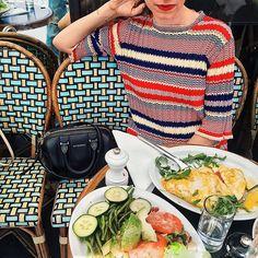 Céline dress and breakfast.
