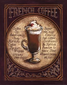 Spanish Coffee Art Print Poster by Gregory Gorham Spanish Coffee, French Coffee, Irish Coffee, I Love Coffee, Coffee Cafe, Hot Coffee, Coffee Break, Coffee Drinks, Coffee Shop