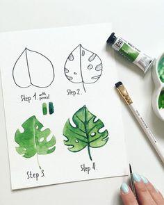 Blatt zeichnen mit Aquarellfarben, Anleitung in vier Schritten für Anfänger, Bild zum Nachzeichnen
