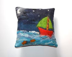 Felted cushion by Felt artist Stephanie Tenier @ Feltastik