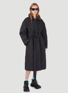 Acne Studios Women's Belted Padded Coat in Black | LN-CC Oversized Puffer Coat, Belts For Women, Black Belt, Acne Studios, Ready To Wear, Raincoat, Long Sleeve, Sleeves, How To Wear