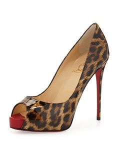 X2EEV Christian Louboutin New Very Prive Leopard-Print Patent Red Sole Pump