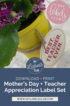 Sibyl Smith of DIY Labels Club has taken some time to put together the best Mother's Day and Teacher Appreciation Day labels for you. Simply head to the blog to purchase the labels, once you've received the PDF, print them out on your favorite heavy paper or card stock, cut them out along the provided lines, and attach them to your gifts. Simple, quick + easy. Diy Holiday Gifts, Teacher Christmas Gifts, Unique Christmas Gifts, Holiday Crafts, Diy Gifts For Mothers, Label Paper, Gift Labels, Teacher Appreciation Gifts, Gift Cards