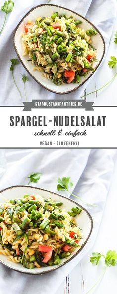 Schneller grüner Spargel-Nudelsalat in einem Dressing aus frischer Petersilie u… Quick green asparagus pasta salad in a dressing of fresh parsley and olive oil. An ideal salad for office meals or barbecues! A delicious vegan and gluten-free recipe! Healthy Meals To Cook, Healthy Pasta Recipes, Pasta Salad Recipes, Detox Recipes, Healthy Cooking, Asparagus Pasta, Le Diner, Bean Recipes, Dinner