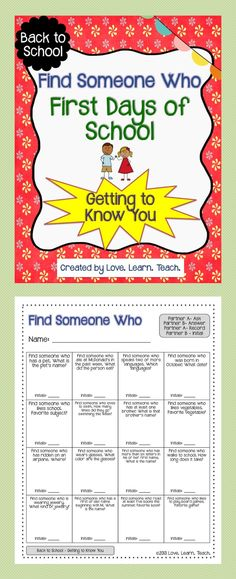 FREEBIE for back to school. This is a great way to break the ice the first week of school. Click to download today!