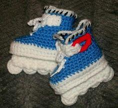 Custom Handmade Crochet Blue Aggressive Style Rollerblade Skates Baby Booties | eBay