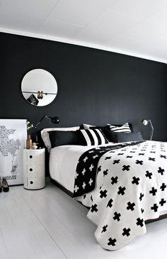 #Schlafzimmer mit schwarzer Rückwand // Great Design: Pia Wallén Cross Blanket   Nordic Days