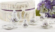 Children's Porcelain Tea Set in Wicker Style Basket - Purple Glory - Roses And Teacups