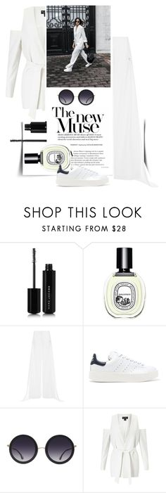 """total white"" by marybloom ❤ liked on Polyvore featuring Marc Jacobs, Diptyque, Esteban Cortazar, adidas Originals, Alice + Olivia, Miss Selfridge, blazer, totalwhite and widepants"