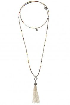 African Bead Chain Tassel Necklace