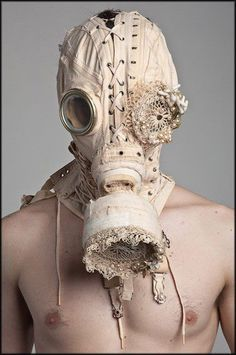 ♥ corset gas mask freaky weird macabre steampunk fashion shoot textile art I'd be too scared to wear Look Festival, Creepy, Scary, Masks Art, Textiles, Headdress, Costume Design, Textile Art, Wearable Art