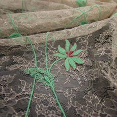 Dentelle de Calais-Caudry brodée Référence 103760GD/120 Largeur 120 CM Coloris Poudre/Mint Jean Bracq Spring/Summer 2022 Spring Summer, Plants, Face Powder, Embroidery, Plant, Planets