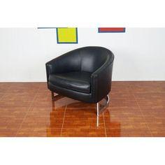 Image of Milo Baughman Vintage Chrome Black Lounge Chair