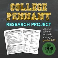 Get your students excited about the college research process with this creative pennant project. Students select a college and conduct research about the school, using the research guide. Then, they use the information to create a pennant which can be displayed in the classroom or hallway.I used 12x18 pieces of white poster board, and made one template for students to use as their pennant.