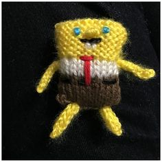 This pattern is for a teeny tiny SpongeBob! He is super cute and fast to work up! He makes a great Christmas ornament or key chain! Being so small he is not suitable for small children. You can change his size by using different yarn and needles! I put this pattern at intermediate because you need to know how to kitchener stitch, use DPNs, I-cord and multiple overhand knot! **Yarn: ** small amounts of sport weight (or weight of your choice) yellow, blue, red, black, brown and whiteNeedles…