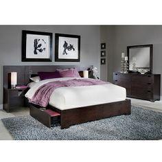 Casa Moda II Bedroom 7 Pc. Queen Wall Storage Bedroom - Value City Furniture $1,699.99 #BuyOnlineVCF