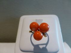 Vintage 1960s signed Ming's Hawaii 3 coral bead ring pink orangy 14k yellow gold #Mings