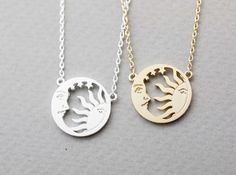 Sun and moon necklace,sun moon jewelry,wiccan jewelry,pagan,planet necklace, N1031G