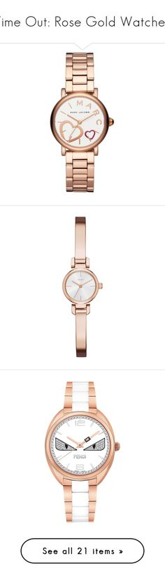"""""""Time Out: Rose Gold Watches"""" by polyvore-editorial ❤ liked on Polyvore featuring rosegoldwatches, jewelry, watches, rose gold, rose gold tone watches, heart-shaped jewelry, polish jewelry, marc by marc jacobs jewelry, watch bracelet and accessories"""