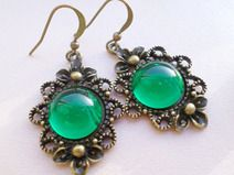 "Dangle Brass Earrings ""Emerald Sea"""