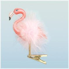 Flamingo With Gold Clip Ornament - Bronnors is the largest Christmas store in midwest - you could call them to discuss large order discounts