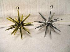 Vintage 9 4' Bradford SPUTNIK ATOMIC Ornaments 1950-60's Shiny Metallic Plastic Christmas Tree Ornaments & Red Tree Topper Angel Hair Bells