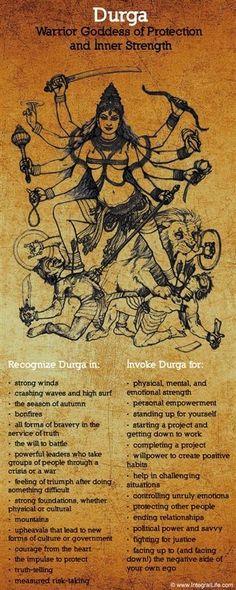 Mythology + Religion: Durga, Hindu Warrior Goddess of Protection and Inner Strength Sacred Feminine, Divine Feminine, 3 Chakra, Hindu Deities, Hindu Art, Indian Gods, Indian Art, Tantra, Gods And Goddesses