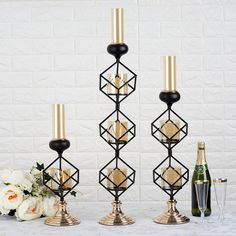 Geometric Candle Holders Wholesale with Amber Glass Votives Gold Centerpieces, Gold Wedding Decorations, Manzanita Centerpiece, Centerpiece Decorations, Glass Votive Holders, Glass Candle Holders, Geometric Candle Holder, Cube Design, Candle Containers