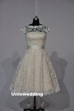 Short sleeves knee length vintage lace wedding by Uniswedding Old Hollywood Wedding, Old Hollywood Glam, Handmade Wedding Dresses, Vintage Lace Weddings, Dream Dress, I Dress, Lace Dress, Rehearsal Dress, Girly Girl