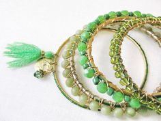 Green Stacking Bangle Bracelet Set Arm Party by CrystalKennedy
