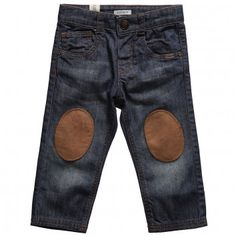 IKKS Blue Faded Wash Jeans with Knee Patches at Childrensalon.com