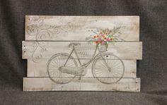 Pallet Antique bike spring flowers Spring by TheWhiteBirchStudio Wood Pallets, Pallet Wood, Shabby, Unique Wall Art, Pallet Art, Flower Basket, Barn Wood, Spring Flowers, Wood Art