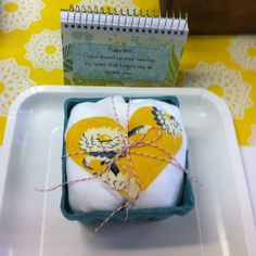 Tea towel in berry basket! cute!