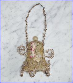 Glasornament Glocke mit leonischen Drähten, um 1890  (# 6566)