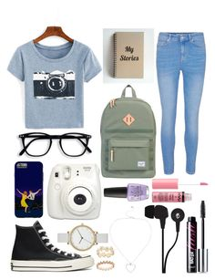 dreamer 💭 by bellaangelina on Polyvore featuring polyvore fashion style Herschel Supply Co. Skagen Accessorize Skullcandy Converse Benefit Charlotte Russe OPI Fujifilm clothing