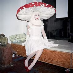 mushroom costume - white dress, red wide brimmed hat with sewn on white dots.